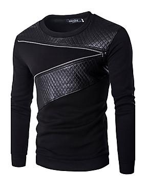preiswerte Plus Size Kapuzenshirts für Herren-Herrn Aktiv Langarm Rundhalsausschnitt Pullover - Patchwork, Einfarbig / Herbst