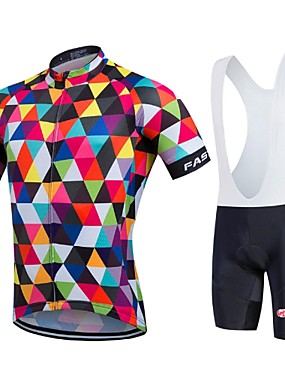 cheap Sports & Outdoors-Fastcute Men's Short Sleeve Cycling Jersey with Bib Shorts Coolmax® Lycra Rainbow Geometic Bike Jersey Bib Tights Clothing Suit Breathable Quick Dry Sports Geometic Road Bike Cycling Clothing Apparel