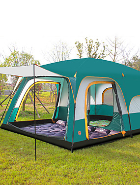 cheap Sports & Outdoors-Shamocamel® 8 person Family Tent Outdoor Waterproof, Well-ventilated, Breathability Double Layered Poled Instant Cabin Camping Tent Two Rooms >3000 mm for Camping / Hiking Polyester, Polyster