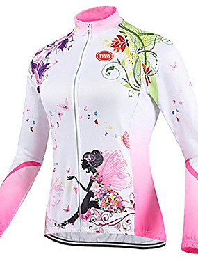cheap Sports & Outdoors-TVSSS Women's Long Sleeve Cycling Jersey Winter Fleece Coolmax® Lycra Patchwork British Floral Botanical Bike Top Breathable Sports Clothing Apparel / High Elasticity