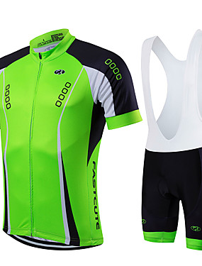cheap Sports & Outdoors-Fastcute Men's Short Sleeve Cycling Jersey with Bib Shorts Red Green Blue Solid Color Bike Clothing Suit Breathable Quick Dry Sports Coolmax® Lycra Solid Color Mountain Bike MTB Road Bike Cycling
