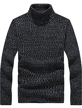 preiswerte Plus Size Sweatshirts für Herren-Herrn Alltag / Sport / Formal Solide Langarm Übergrössen Standard Pullover Pullover Jumper Frühling / Herbst / Winter Schwarz / Hellgrau / Dark Gray M / L / XL / Arbeit