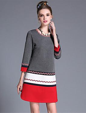 preiswerte Mode für Sie & Ihn-Damen Übergrössen Arbeit Boho A-Linie Hülle Kleid - Spitze, Einfarbig Patchwork Übers Knie