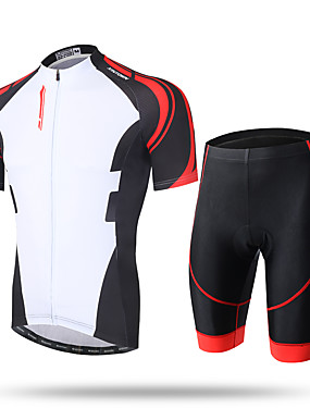 cheap Sports & Outdoors-Men's Short Sleeve Cycling Jersey with Shorts Coolmax® Mesh Lycra White / Black Novelty Bike Shorts Pants / Trousers Jersey Breathable 3D Pad Quick Dry Ultraviolet Resistant Reflective Strips Sports