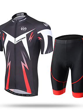 cheap Sports & Outdoors-Men's Short Sleeve Cycling Jersey with Shorts Green and Black Black / Red Novelty Bike Shorts Pants / Trousers Jersey Breathable 3D Pad Quick Dry Ultraviolet Resistant Reflective Strips Sports / Mesh