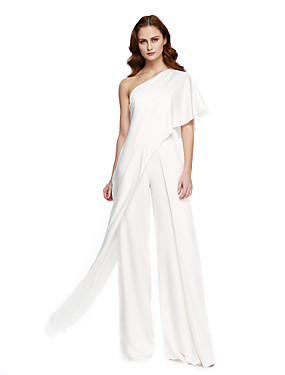 cheap Clearance-Jumpsuits Elegant White Wedding Guest Formal Evening Dress One Shoulder Sleeveless Floor Length Chiffon with Draping 2020