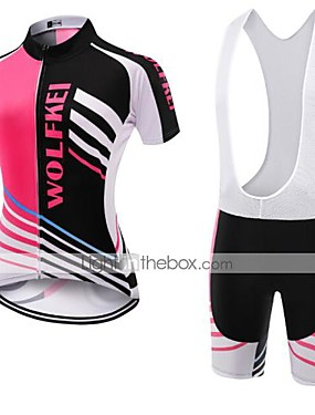 cheap Sports & Outdoors-WOLFKEI Women's Short Sleeve Cycling Jersey with Bib Shorts Coolmax® Mesh Silicon Black / Pink Plus Size Bike Clothing Suit Breathable Quick Dry Back Pocket Sweat-wicking Sports Classic Road Bike