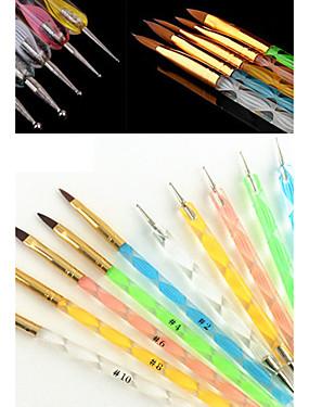 voordelige Nagelborstels-5 stuks Synthetisch haar / Muovi / Metaal Nail Art Tool Nail Art Kit Nail acrylborstel Voor Vingernagel Teennagel Acrylkwast Noviteit Nagel kunst Manicure pedicure Klassiek / leuke Style Dagelijks