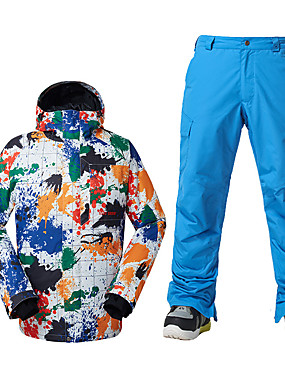 cheap Sports & Outdoors-GSOU SNOW Men's Ski Jacket with Pants Ski / Snowboard Winter Sports Thermal / Warm Waterproof Windproof Polyester Clothing Suit Ski Wear / Breathable / Fleece Lining / Breathable
