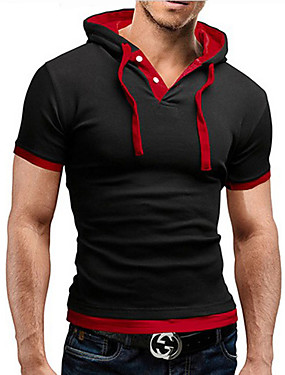 cheap Arabian Clothing-Men's Graphic Solid Colored T-shirt Active Daily Going out Shirt Collar Wine / Black / Red / Dark Gray / Blue / Light gray / Gray / Light Blue / Summer / Short Sleeve