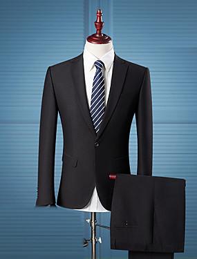preiswerte Neu Eingetroffen-Herrn Alltag / Arbeit Street Schick Übergrössen Standard Anzüge, Solide Gekerbtes Revers Langarm Kunstseide Schwarz