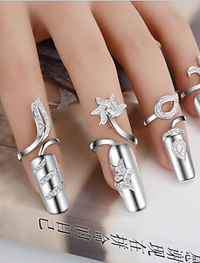 cheap Fashion Rings-Women's Statement Ring Nail Finger Ring Golden Silver Silver Plated Ladies Personalized Unusual Wedding Party Jewelry Flower Handmade