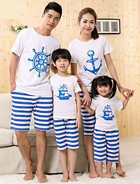 preiswerte Mode Schmuck-Gestreift Kurzarm Standard Baumwolle T-Shirt Weiß