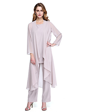 cheap The Wedding Store-Pantsuit / Jumpsuit Bateau Neck Floor Length Chiffon Long Sleeve Elegant / Plus Size Mother of the Bride Dress with Sash / Ribbon / Crystals Mother's Day 2020