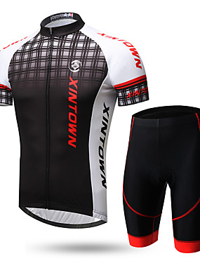 cheap Sports & Outdoors-XINTOWN Men's Short Sleeve Cycling Jersey with Shorts Lycra Black / Red 1# White+Gray Gradient Bike Clothing Suit Breathable Quick Dry Ultraviolet Resistant Back Pocket Limits Bacteria Sports Gradient