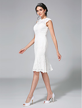 cheap The Wedding Store-Sheath / Column Bateau Neck Knee Length Lace Made-To-Measure Wedding Dresses with Lace by LAN TING BRIDE® / Little White Dress