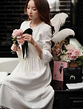 preiswerte Mode für Sie & Ihn-Damen Festtage / Ausgehen Street Schick / Anspruchsvoll A-Linie / Hülle Kleid - Schleife / Gerüscht / Gitter, Solide / Patchwork Midi