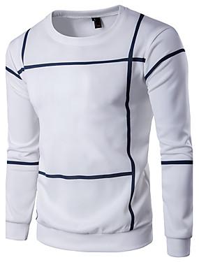 preiswerte Plus Size Kapuzenshirts für Herren-Herrn Übergrössen Sport Aktiv / Grundlegend Langarm Rundhalsausschnitt Pullover Gestreift / Einfarbig / Frühling / Herbst