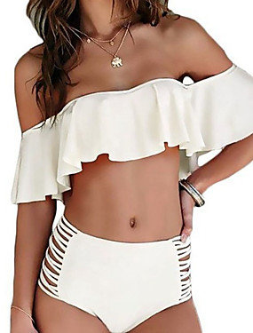 preiswerte federova-Damen Rüsche Schulterfrei Weiß Schwarz Rosa Bandeau Hohe Taillenlinie Bikinis Bademode - Solide Rüsche mit Schnürung M L XL Weiß / Sexy
