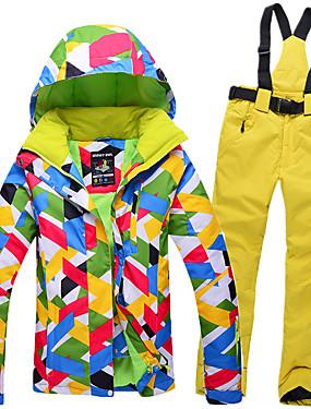abordables Deportes y Ocio-GQY® Mujer Chaqueta y pantalones de Esquí Esquí Deportes de Invierno Mantiene abrigado Impermeable Resistente al Viento Poliéster Trajes de Yoga Ropa de Esquí / Manga Larga
