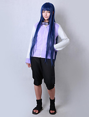 cheap Toys & Hobbies-Inspired by Naruto Hinata Hyuga Anime Cosplay Costumes Japanese Cosplay Suits Solid Colored Long Sleeve Coat / Shorts For Men's / Women's