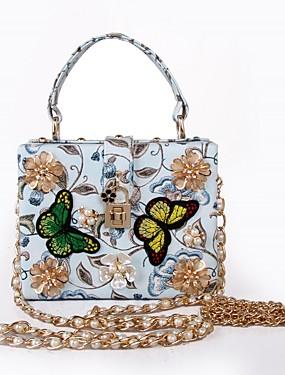 preiswerte MariagraziaCeraso-Damen Perle / Imitationsperle / Blume PU Tragetasche Künstlerisch gestaltet Hellblau