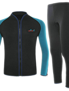 cheap Sports & Outdoors-Bluedive Men's Full Wetsuit 2mm Neoprene Diving Suit Thermal / Warm Quick Dry Long Sleeve 2-Piece Front Zip - Swimming Diving Surfing Patchwork / Stretchy / 2 Piece