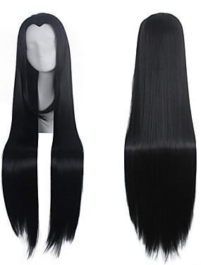 halpa Lelut ja harrasteet-Cosplay-peruukit Synteettiset peruukit Pilailuperuukit Suora Suora Peruukki Pitkä Hyvin pitkä Musta Synteettiset hiukset Naisten Keskijakaus Musta