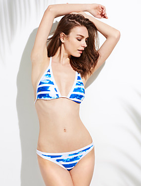 cheap UNDER $9.99-Women's Sporty Look Floral Halter Neck Blue Bikini Swimwear Swimsuit - Striped S M L Blue