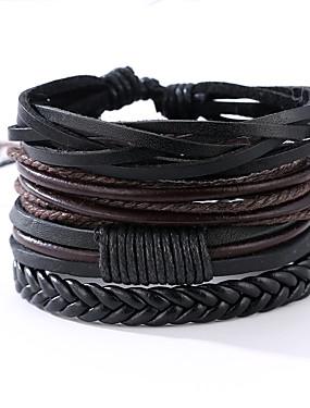 cheap Jewelry Deal-4 PCS Men's Wrap Bracelet Leather Bracelet Rope Vintage Punk Paracord Bracelet Jewelry Black / Silver Leaf / Abstract Pattern For Anniversary Gift Sports Valentine