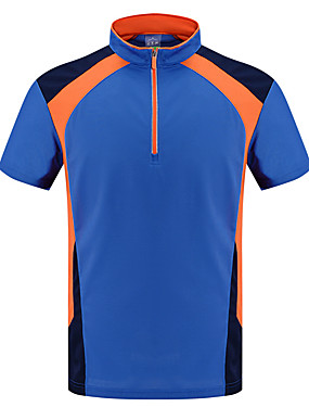 cheap Sports & Outdoors-LEIBINDI Men's Running T-Shirt Running Shirt Short Sleeve Breathable Quick Dry Wearable Gym Workout Running Exercise & Fitness Leisure Sports Sportswear Patchwork Plus Size Tee T-shirt Top Orange