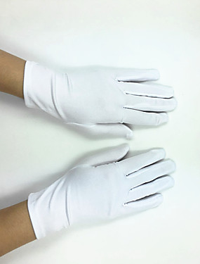 cheap Party Gloves-Polyester Elastic Satin Wrist Length Glove Classical Bridal Gloves Party/ Evening Gloves With Solid