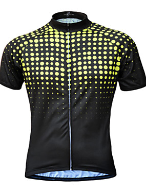 cheap Sports & Outdoors-JESOCYCLING Men's Short Sleeve Cycling Jersey Yellow Green Blue Bike Jersey Top Mountain Bike MTB Road Bike Cycling UV Resistant Breathable Quick Dry Sports Clothing Apparel / Stretchy / Back Pocket