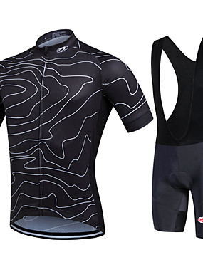 cheap Sports & Outdoors-Fastcute Men's Short Sleeve Cycling Jersey with Bib Shorts Red Green Blue Bike Shorts Bib Shorts Jacket Breathable 3D Pad Quick Dry Sweat-wicking Sports Polyester Silicon Lines / Waves Mountain Bike
