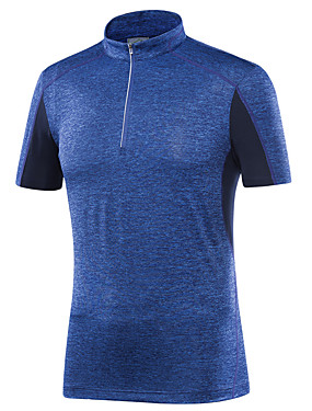 cheap Sports & Outdoors-LEIBINDI Men's Running T-Shirt Short Sleeve Breathable Quick Dry Wearable Gym Workout Running Exercise & Fitness Leisure Sports Sportswear Tee T-shirt Top Dark Grey Royal Blue Dark Navy Activewear