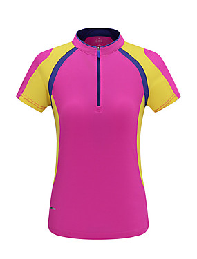 cheap Sports & Outdoors-LEIBINDI Women's Running T-Shirt Running Shirt Short Sleeve Breathable Quick Dry Wearable Gym Workout Running Exercise & Fitness Leisure Sports Sportswear Patchwork Tee T-shirt Top Purple Fuchsia