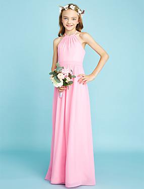 זול חנות החתונות-גזרת A קולר עד הריצפה שיפון שמלה לשושבינות הצעירות  עם סרט / טבעי