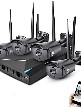 preiswerte JOOAN-jooan® 4ch kabelloses NVR-Kit 4 Stück 1080p Outdoor-Nachtsicht-Bewegungsmelder 2.0MP IP-Kamera IP66 wasserdicht WiFi-Überwachung CCTV-System Wolke P2P-Handy-Überwachung