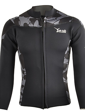 cheap Sports & Outdoors-YON SUB Men's Wetsuit Top Top Long Sleeve Diving Fashion Spring / Stretchy