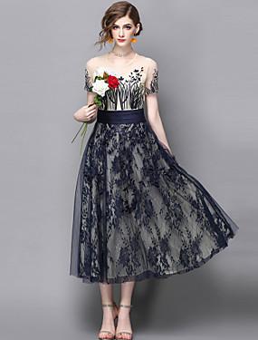 preiswerte Mode für Sie & Ihn-Damen Ausgehen Street Schick / Anspruchsvoll Spitze A-Linie / Hülle / Swing Kleid - Spitze / Stilvoll / Bestickt, Stickerei Midi