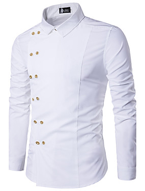 baratos Roupas Árabes-Homens Camisa Social Sólido Delgado Blusas Casual Colarinho Clássico Branco Preto Vermelho / Primavera / Outono / Manga Longa