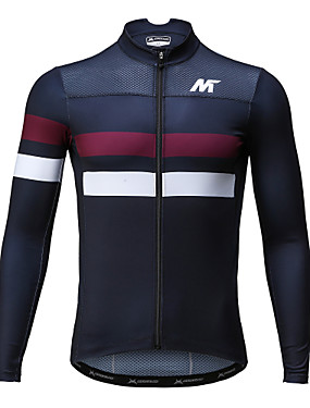 cheap Sports & Outdoors-Mysenlan Men's Long Sleeve Cycling Jersey Dark Blue Bike Jersey Breathable Quick Dry Sports Polyester Mountain Bike MTB Road Bike Cycling Clothing Apparel