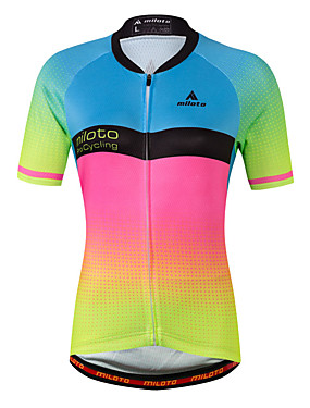 cheap Sports & Outdoors-Miloto Women's Short Sleeve Cycling Jersey - Luminous Gradient Plus Size Bike Jersey Top Spandex Coolmax® / Stretchy