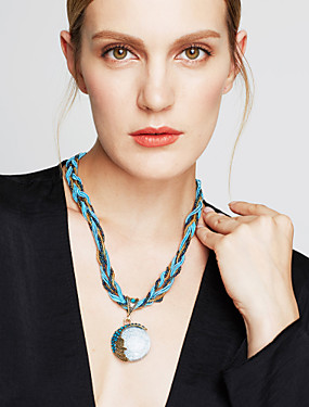 cheap Jewelry Deal-Women's Turquoise Pendant Necklace Twisted Bohemian European Fashion Boho Alloy Black Brown Green Red Blue 42+5 cm Necklace Jewelry 1pc For Party Birthday Gift Daily Casual