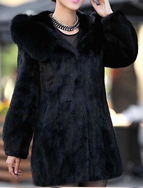 cheap Women's Clothing-Women's Daily Simple / Casual Fall / Winter Long Fur Coat, Solid Colored Hooded Long Sleeve Faux Fur Black