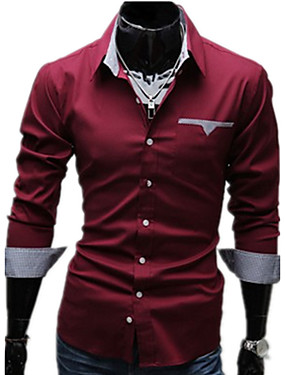 cheap Arabian Clothing-Men's Plus Size Solid Colored Basic Slim Shirt Business Daily Work Classic Collar White / Black / Red / Spring / Fall / Long Sleeve