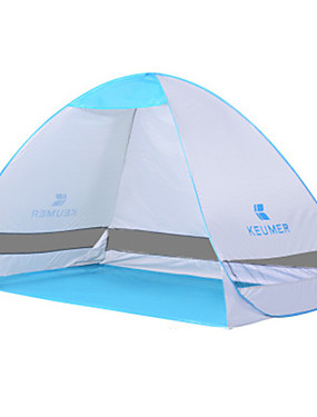 cheap Sports & Outdoors-KEUMER 2 person Beach Tent Outdoor Rain Waterproof Dust Proof Single Layered Camping Tent 1500-2000 mm for Camping / Hiking Poly / Cotton PU Leather / Polyurethane Leather Canvas