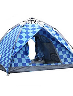 cheap Sports & Outdoors-BSwolf 4 person Automatic Tent Outdoor Waterproof Rain Waterproof Dust Proof Double Layered Camping Tent 2000-3000 mm for Camping / Hiking Glass fiber Terylene