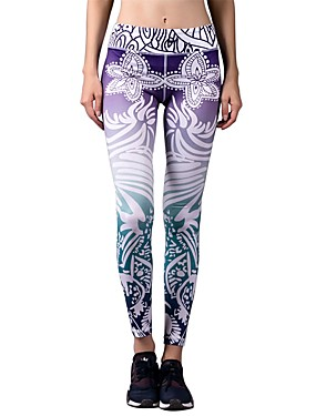 cheap Sports & Outdoors-BARBOK Women's High Waist Yoga Pants Cropped Leggings Floral Botanical Nylon Spandex Zumba Gym Workout Running Sports Activewear Stretchy