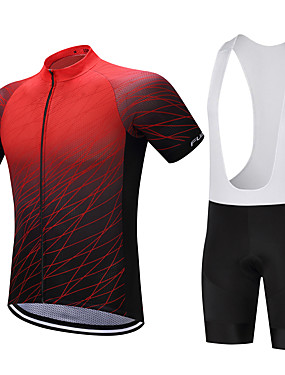 cheap Sports & Outdoors-FUALRNY® Men's Short Sleeve Cycling Jersey with Bib Shorts Green Blue Black / Red Gradient Bike Clothing Suit Quick Dry Sweat-wicking Sports Polyester Coolmax® Silicon Gradient Mountain Bike MTB Road